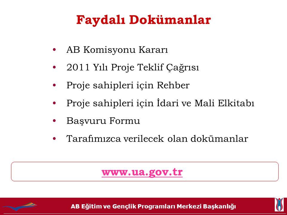 AB Eğitim ve Gençlik Programları Merkezi Başkanlığı Faydalı Dokümanlar www.ua.gov.tr •AB Komisyonu Kararı •2011 Yılı Proje Teklif Çağrısı •Proje sahip