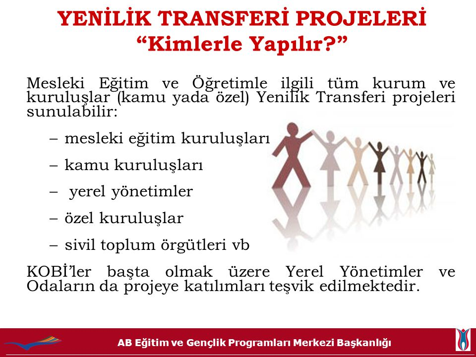 AB Eğitim ve Gençlik Programları Merkezi Başkanlığı YENİLİK TRANSFERİ PROJELERİ Önemli Detaylar •Somut sonuçlar hedefler (Müfredat, Hizmet-içi Eğitim Programı, Uzaktan Eğitim Modülü gibi) •Biri AB üyesi olmak üzere, minimum 2 farklı Avrupa ülkesinden proje ortağı bulunmalıdır, (başvuru sahibi dâhil toplam 3 ülke olmalıdır.) •Proje Süresi en fazla 2 yıl ( 24 ay ) •Hibe miktarı: 150.000 € / yıl •Proje Ortakları toplam bütçenin % 25'lik bölümünü katkı ( ayni ya da nakdi ) olarak sağlamalıdır.