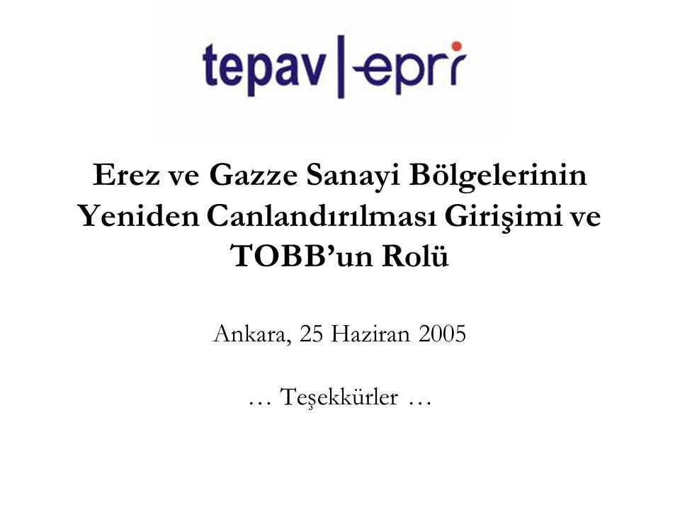 Erez ve Gazze Sanayi Bölgelerinin Yeniden Canlandırılması Girişimi ve TOBB'un Rolü Ankara, 25 Haziran 2005 … Teşekkürler …