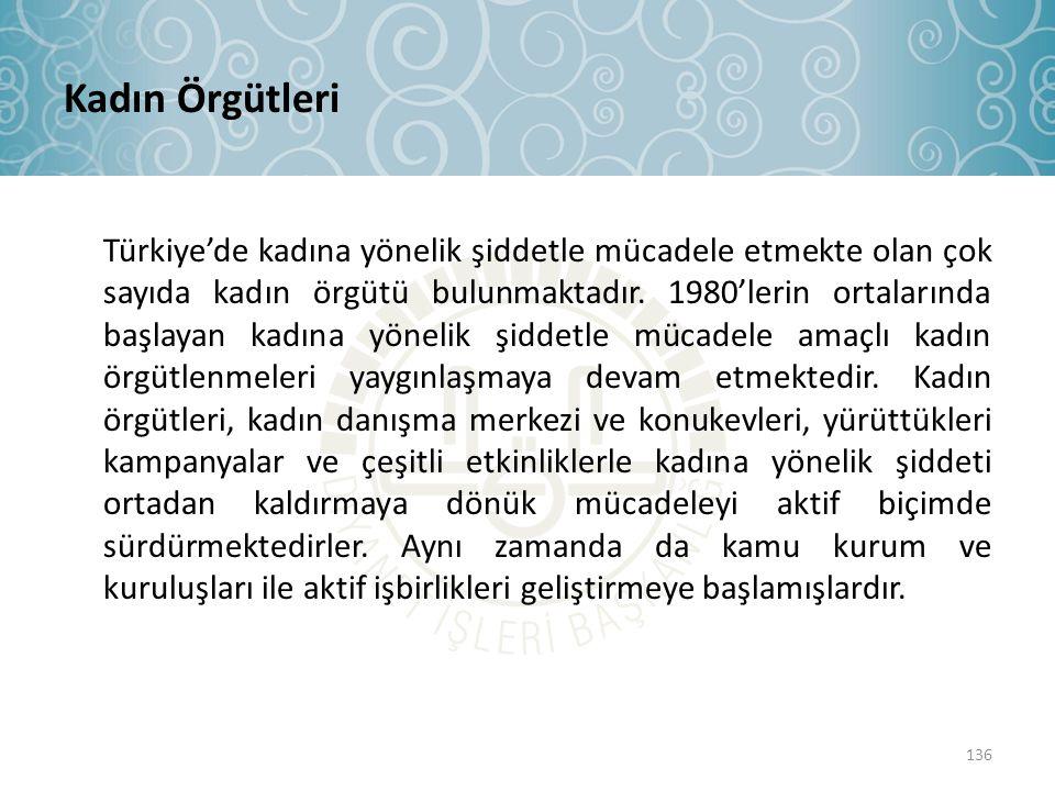 Kadın Örgütleri Türkiye'de kadına yönelik şiddetle mücadele etmekte olan çok sayıda kadın örgütü bulunmaktadır. 1980'lerin ortalarında başlayan kadına