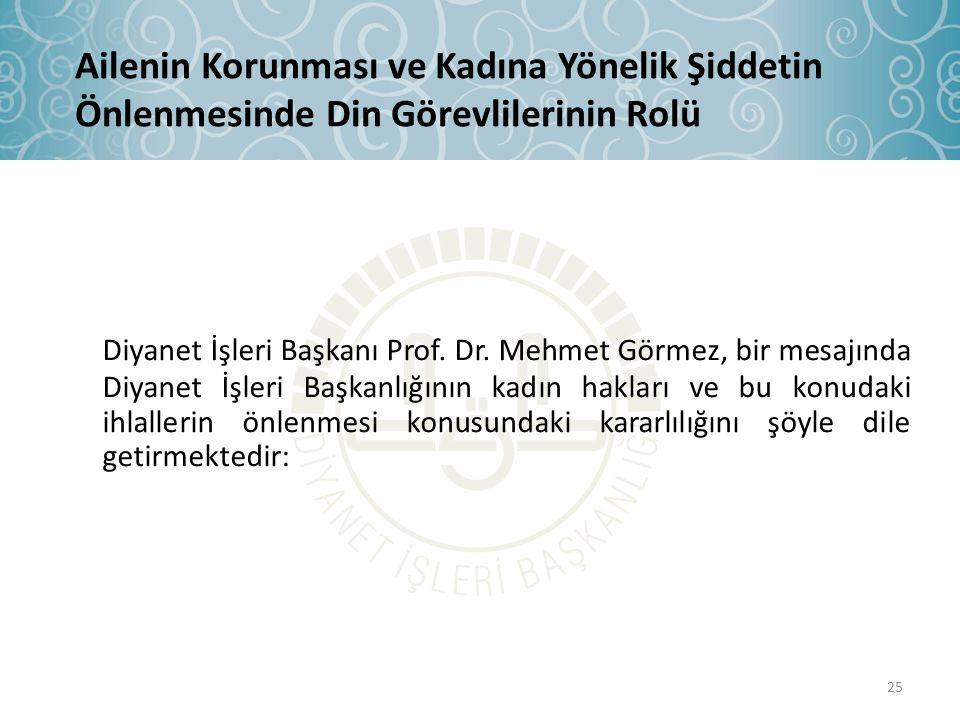 Diyanet İşleri Başkanı Prof. Dr. Mehmet Görmez, bir mesajında Diyanet İşleri Başkanlığının kadın hakları ve bu konudaki ihlallerin önlenmesi konusunda