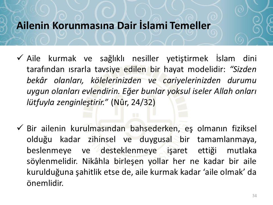 Ailenin Korunmasına Dair İslami Temeller  Aile kurmak ve sağlıklı nesiller yetiştirmek İslam dini tarafından ısrarla tavsiye edilen bir hayat modelid