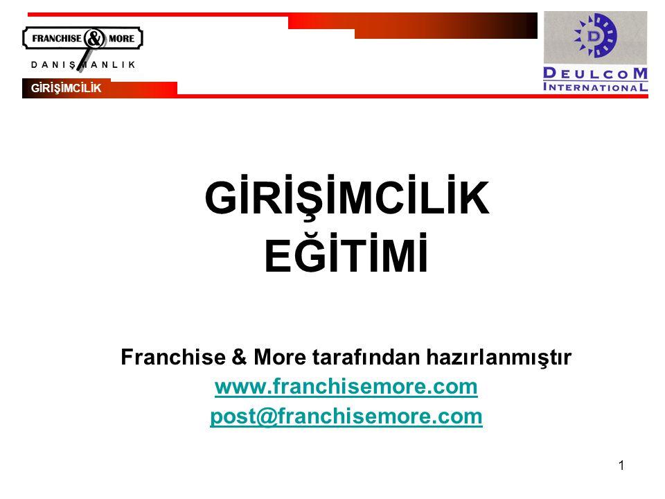 1 GİRİŞİMCİLİK EĞİTİMİ Franchise & More tarafından hazırlanmıştır www.franchisemore.com post@franchisemore.com GİRİŞİMCİLİK