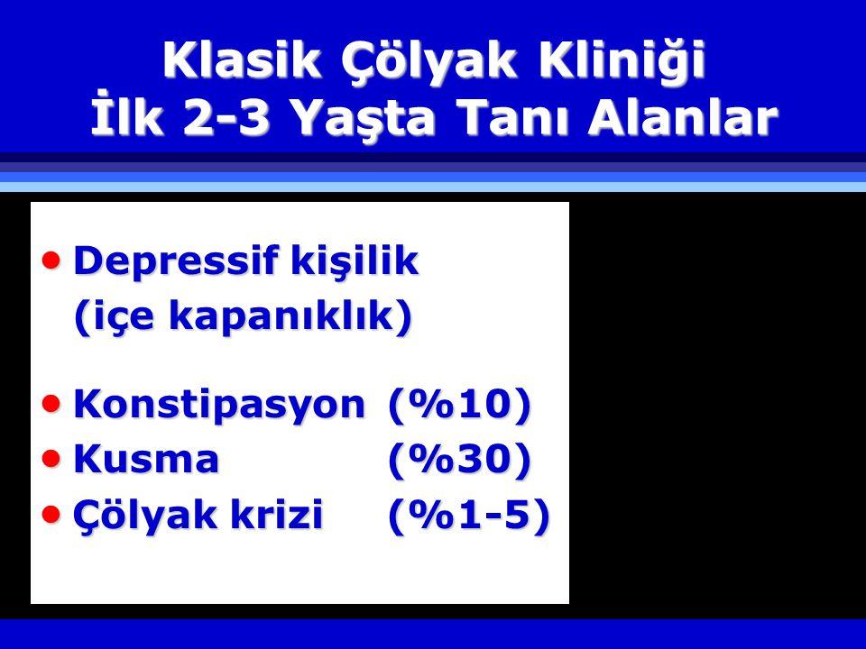 Klasik Çölyak Kliniği İlk 2-3 Yaşta Tanı Alanlar  Depressif kişilik (içe kapanıklık)  Konstipasyon (%10)  Kusma(%30)  Çölyak krizi(%1-5)