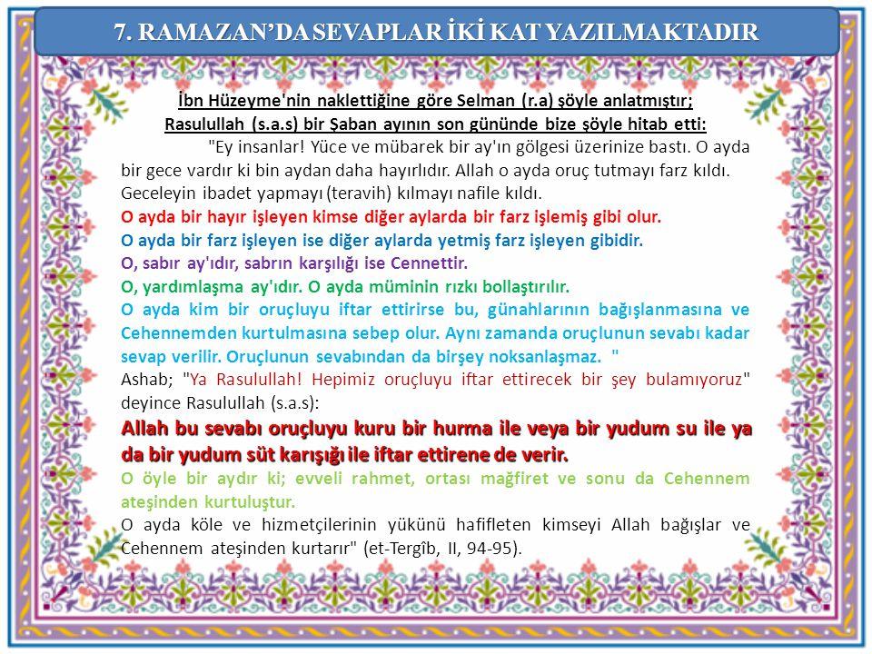 İbn Hüzeyme'nin naklettiğine göre Selman (r.a) şöyle anlatmıştır; Rasulullah (s.a.s) bir Şaban ayının son gününde bize şöyle hitab etti: