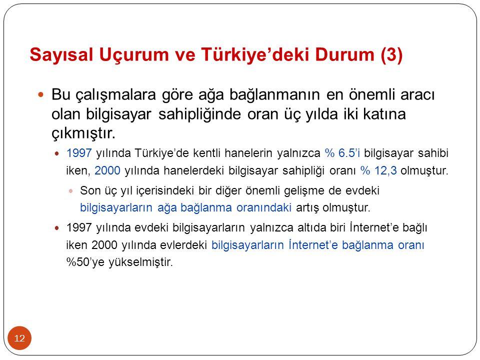 12  Bu çalışmalara göre ağa bağlanmanın en önemli aracı olan bilgisayar sahipliğinde oran üç yılda iki katına çıkmıştır.  1997 yılında Türkiye'de ke