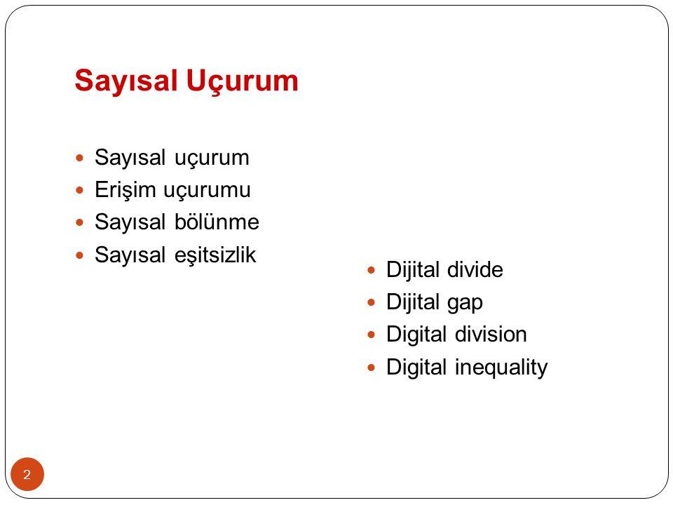 2 Sayısal Uçurum  Sayısal uçurum  Erişim uçurumu  Sayısal bölünme  Sayısal eşitsizlik  Dijital divide  Dijital gap  Digital division  Digital