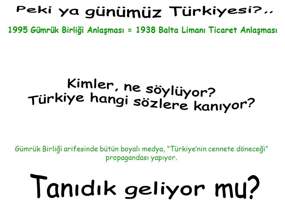 """1995 Gümrük Birliği Anlaşması = 1938 Balta Limanı Ticaret Anlaşması Gümrük Birliği arifesinde bütün boyalı medya, """"Türkiye'nin cennete döneceği"""" propa"""
