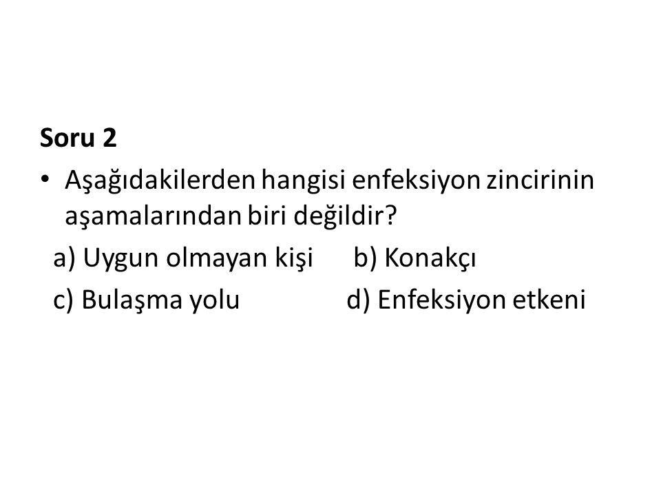Soru 2 • Aşağıdakilerden hangisi enfeksiyon zincirinin aşamalarından biri değildir? a) Uygun olmayan kişi b) Konakçı c) Bulaşma yolu d) Enfeksiyon etk