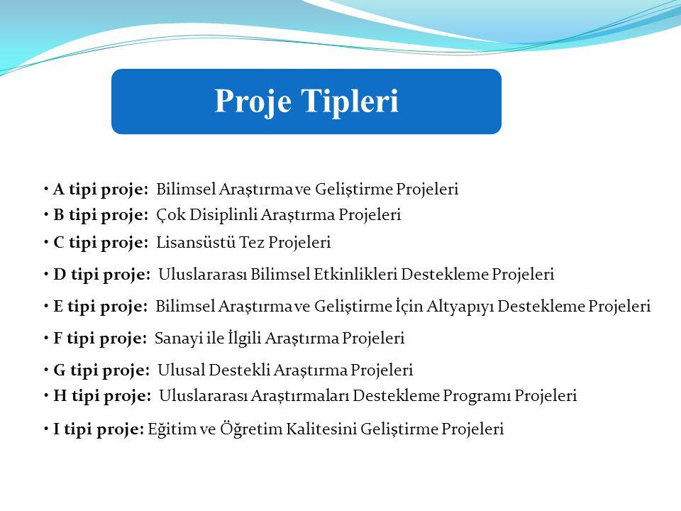 • A tipi proje: Bilimsel Araştırma ve Geliştirme Projeleri • B tipi proje: Çok Disiplinli Araştırma Projeleri • C tipi proje: Lisansüstü Tez Projeleri • D tipi proje: Uluslararası Bilimsel Etkinlikleri Destekleme Projeleri • E tipi proje: Bilimsel Araştırma ve Geliştirme İçin Altyapıyı Destekleme Projeleri • F tipi proje: Sanayi ile İlgili Araştırma Projeleri • G tipi proje: Ulusal Destekli Araştırma Projeleri • H tipi proje: Uluslararası Araştırmaları Destekleme Programı Projeleri • I tipi proje: Eğitim ve Öğretim Kalitesini Geliştirme Projeleri Proje Tipleri