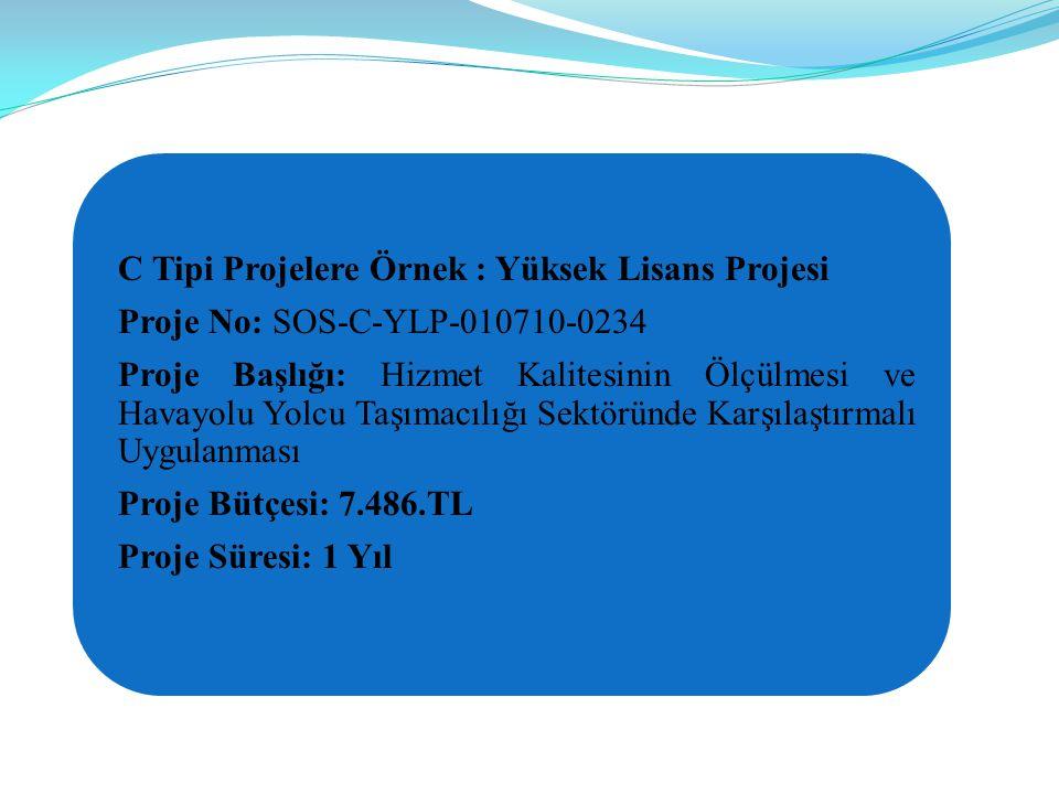 C Tipi Projelere Örnek : Yüksek Lisans Projesi Proje No: SOS-C-YLP-010710-0234 Proje Başlığı: Hizmet Kalitesinin Ölçülmesi ve Havayolu Yolcu Taşımacılığı Sektöründe Karşılaştırmalı Uygulanması Proje Bütçesi: 7.486.TL Proje Süresi: 1 Yıl