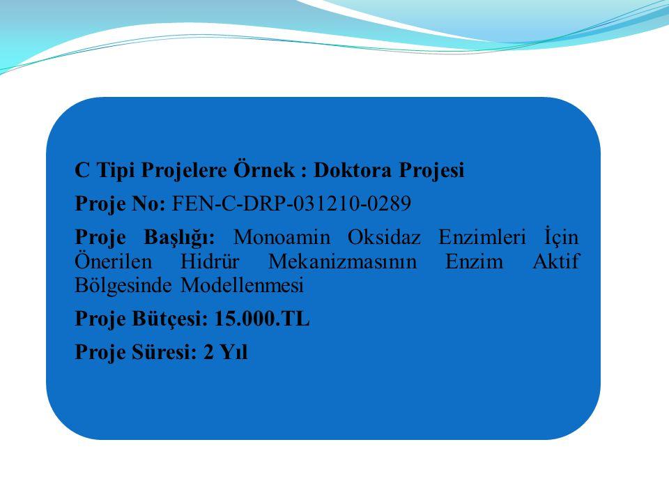 C Tipi Projelere Örnek : Doktora Projesi Proje No: FEN-C-DRP-031210-0289 Proje Başlığı: Monoamin Oksidaz Enzimleri İçin Önerilen Hidrür Mekanizmasının Enzim Aktif Bölgesinde Modellenmesi Proje Bütçesi: 15.000.TL Proje Süresi: 2 Yıl
