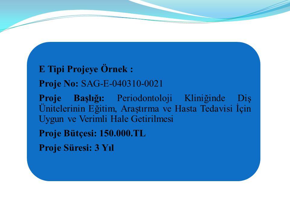 E Tipi Projeye Örnek : Proje No: SAG-E-040310-0021 Proje Başlığı: Periodontoloji Kliniğinde Diş Ünitelerinin Eğitim, Araştırma ve Hasta Tedavisi İçin Uygun ve Verimli Hale Getirilmesi Proje Bütçesi: 150.000.TL Proje Süresi: 3 Yıl