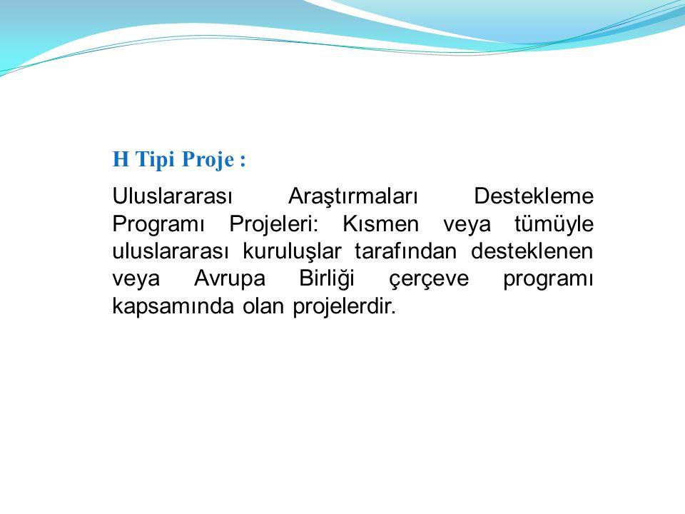 H Tipi Proje : Uluslararası Araştırmaları Destekleme Programı Projeleri: Kısmen veya tümüyle uluslararası kuruluşlar tarafından desteklenen veya Avrupa Birliği çerçeve programı kapsamında olan projelerdir.