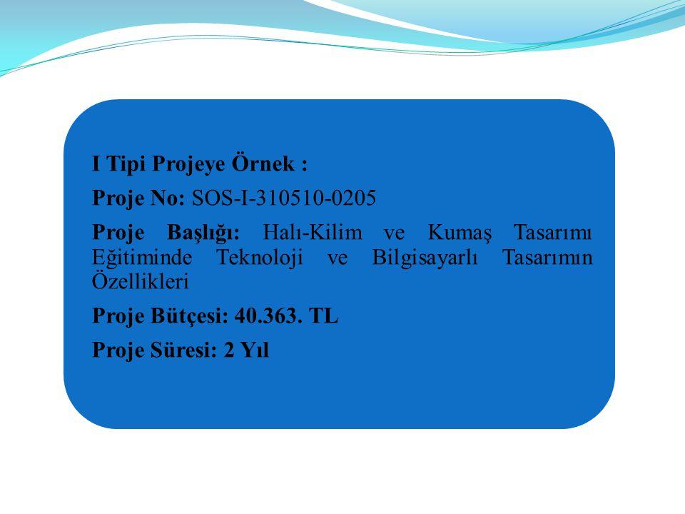 I Tipi Projeye Örnek : Proje No: SOS-I-310510-0205 Proje Başlığı: Halı-Kilim ve Kumaş Tasarımı Eğitiminde Teknoloji ve Bilgisayarlı Tasarımın Özellikleri Proje Bütçesi: 40.363.