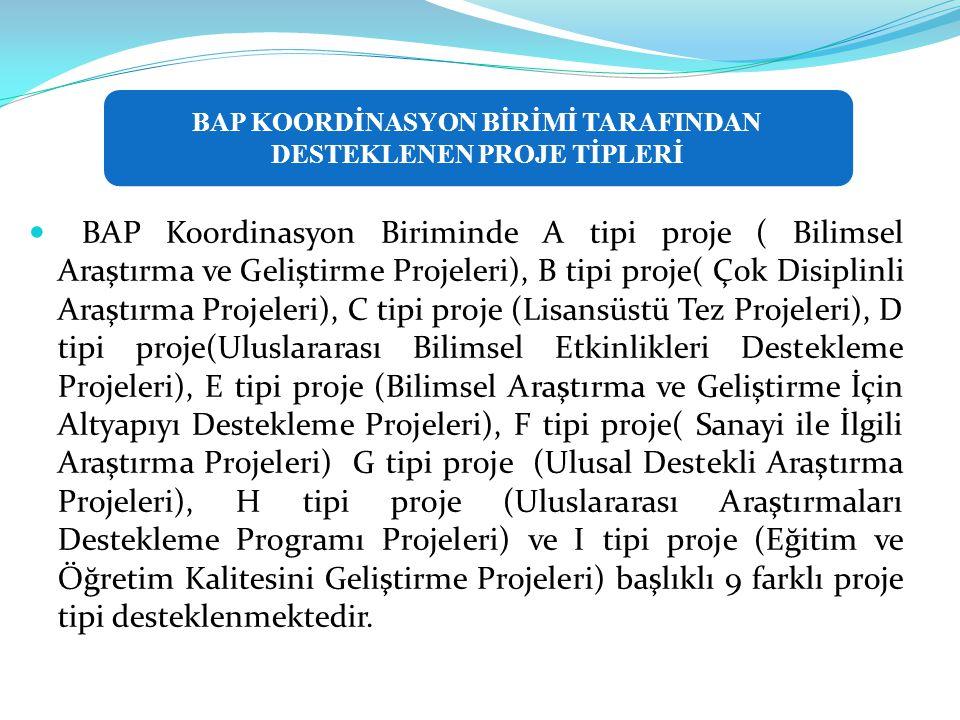  BAP Koordinasyon Biriminde A tipi proje ( Bilimsel Araştırma ve Geliştirme Projeleri), B tipi proje( Çok Disiplinli Araştırma Projeleri), C tipi proje (Lisansüstü Tez Projeleri), D tipi proje(Uluslararası Bilimsel Etkinlikleri Destekleme Projeleri), E tipi proje (Bilimsel Araştırma ve Geliştirme İçin Altyapıyı Destekleme Projeleri), F tipi proje( Sanayi ile İlgili Araştırma Projeleri) G tipi proje (Ulusal Destekli Araştırma Projeleri), H tipi proje (Uluslararası Araştırmaları Destekleme Programı Projeleri) ve I tipi proje (Eğitim ve Öğretim Kalitesini Geliştirme Projeleri) başlıklı 9 farklı proje tipi desteklenmektedir.