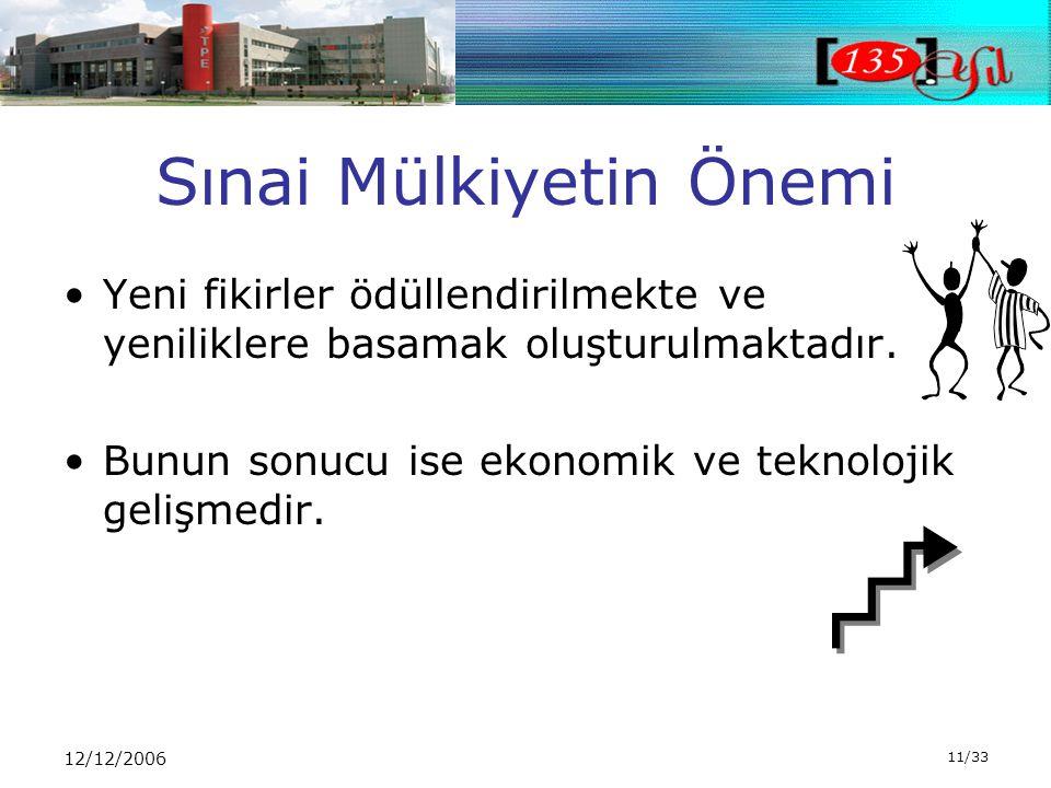12/12/2006 11/33 Sınai Mülkiyetin Önemi •Yeni fikirler ödüllendirilmekte ve yeniliklere basamak oluşturulmaktadır.