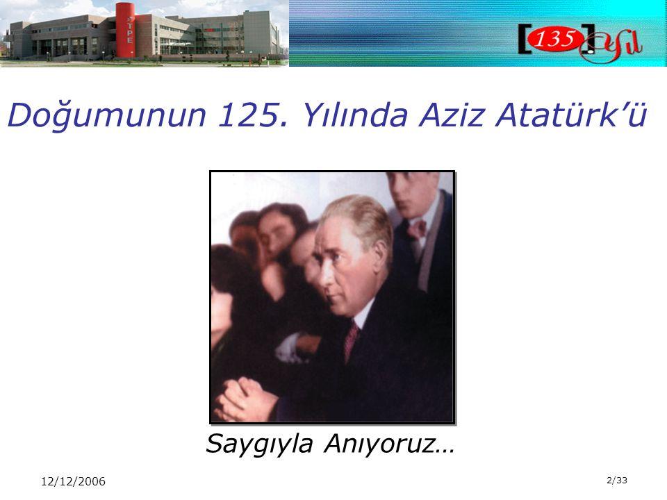 12/12/2006 2/33 Saygıyla Anıyoruz… Doğumunun 125. Yılında Aziz Atatürk'ü