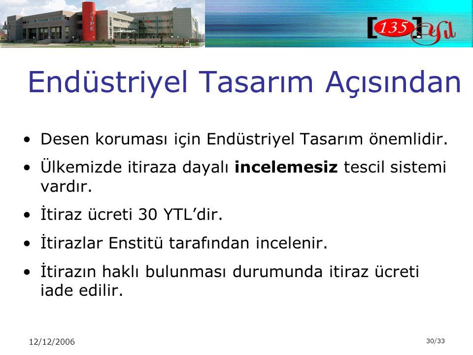 12/12/2006 30/33 Endüstriyel Tasarım Açısından •Desen koruması için Endüstriyel Tasarım önemlidir.
