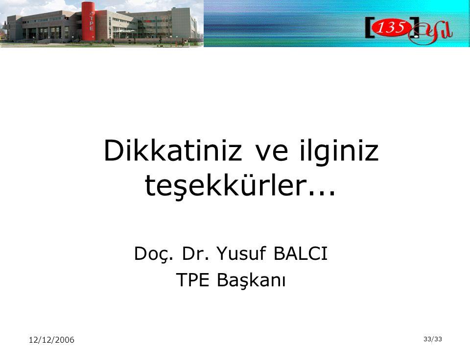 12/12/2006 33/33 Dikkatiniz ve ilginiz teşekkürler... Doç. Dr. Yusuf BALCI TPE Başkanı