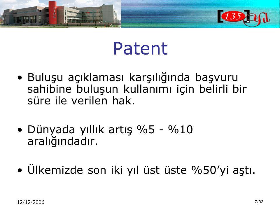 12/12/2006 7/33 Patent •Buluşu açıklaması karşılığında başvuru sahibine buluşun kullanımı için belirli bir süre ile verilen hak.