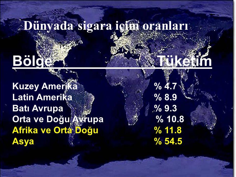 Dünyada sigara içim oranları Bölge Tüketim Kuzey Amerika% 4.7 Latin Amerika% 8.9 Batı Avrupa% 9.3 Orta ve Doğu Avrupa % 10.8 Afrika ve Orta Doğu% 11.8 Asya% 54.5