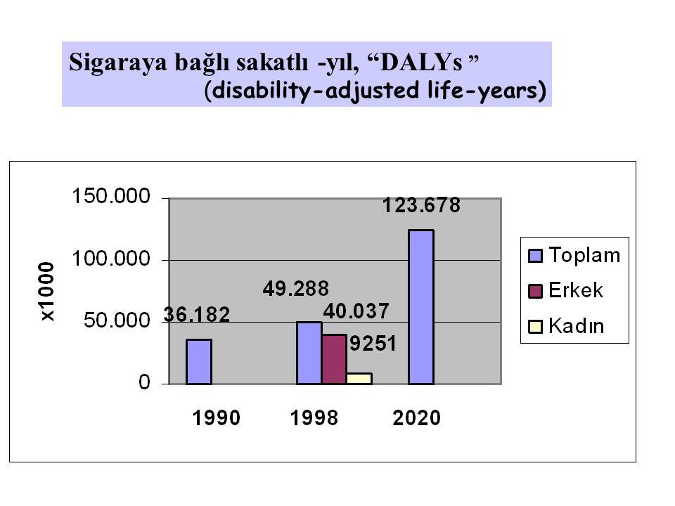 """Sigaraya bağlı sakatlı -yıl, """"DALYs """" (disability-adjusted life-years)"""