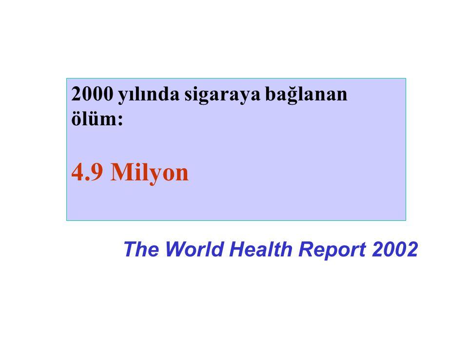 2000 yılında sigaraya bağlanan ölüm: 4.9 Milyon The World Health Report 2002