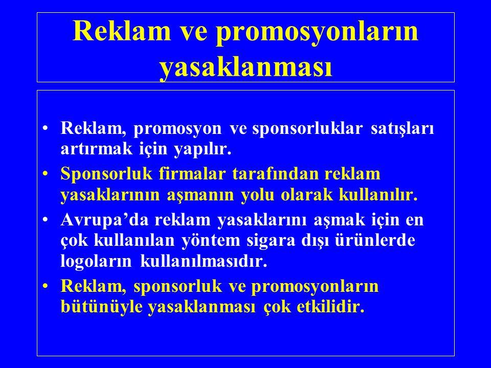 Reklam ve promosyonların yasaklanması •Reklam, promosyon ve sponsorluklar satışları artırmak için yapılır. •Sponsorluk firmalar tarafından reklam yasa