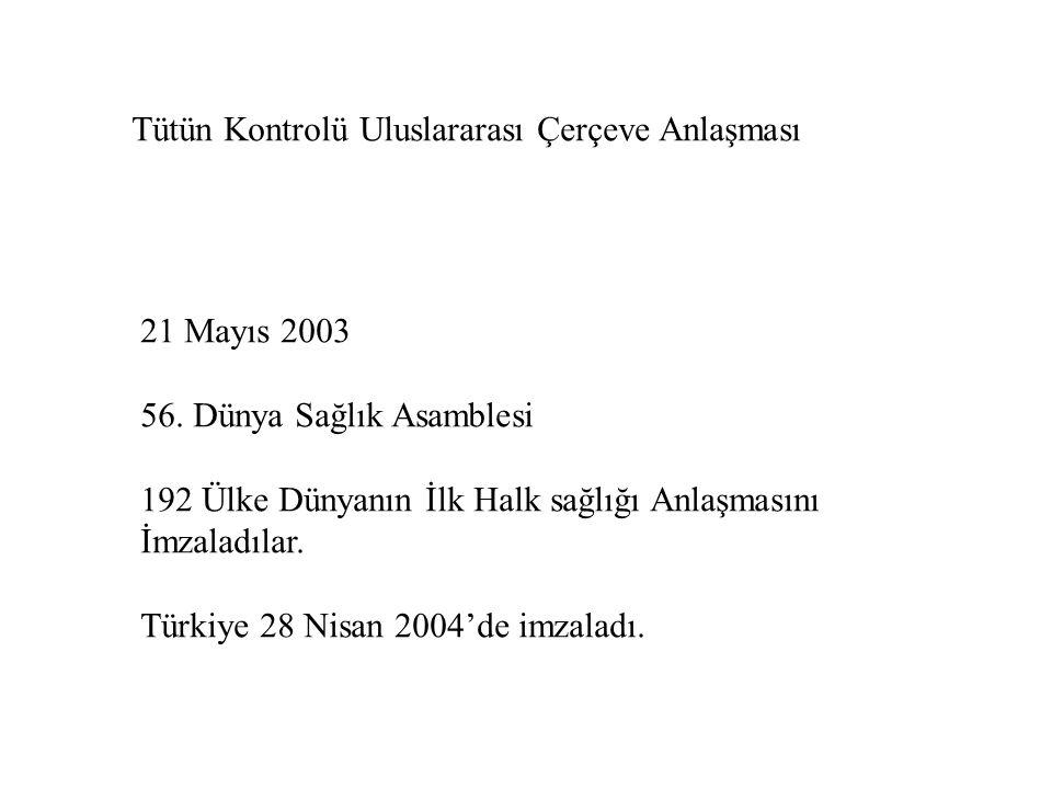 21 Mayıs 2003 56. Dünya Sağlık Asamblesi 192 Ülke Dünyanın İlk Halk sağlığı Anlaşmasını İmzaladılar. Türkiye 28 Nisan 2004'de imzaladı. Tütün Kontrolü