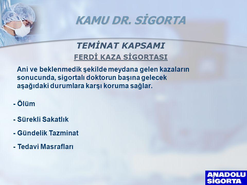 TEMİNAT KAPSAMI FERDİ KAZA SİGORTASI Ani ve beklenmedik şekilde meydana gelen kazaların sonucunda, sigortalı doktorun başına gelecek aşağıdaki durumla