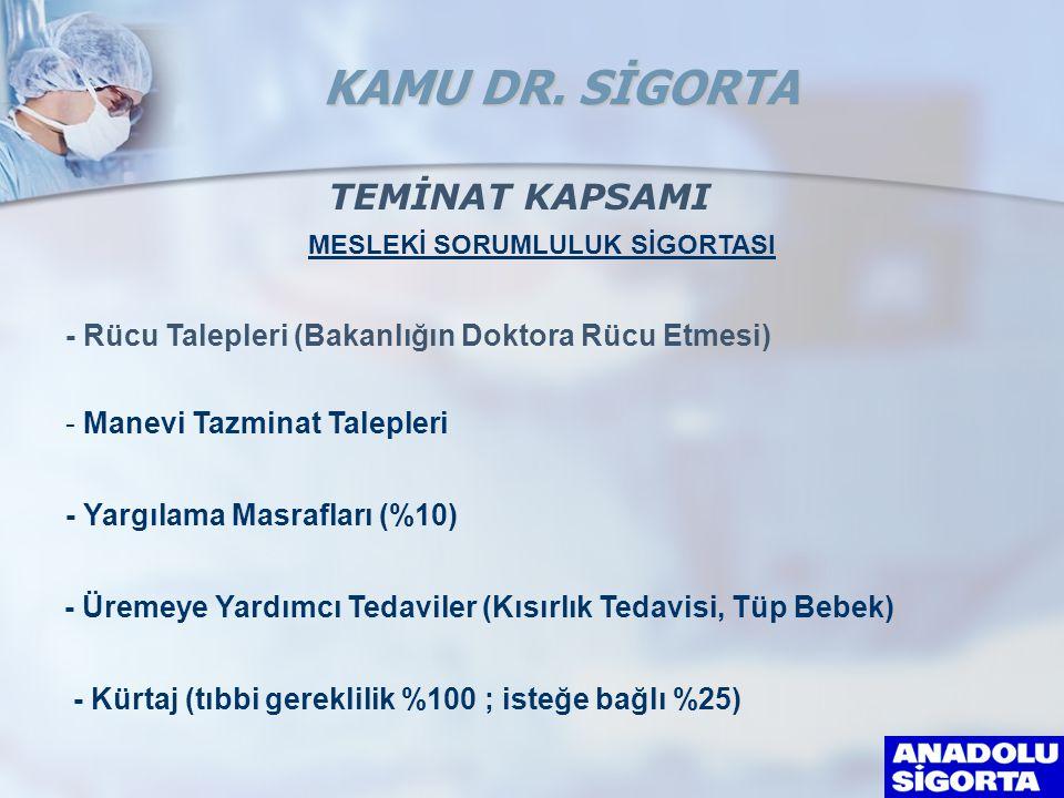 MESLEKİ SORUMLULUK SİGORTASI - Rücu Talepleri (Bakanlığın Doktora Rücu Etmesi) - Manevi Tazminat Talepleri - Yargılama Masrafları (%10) KAMU DR. SİGOR