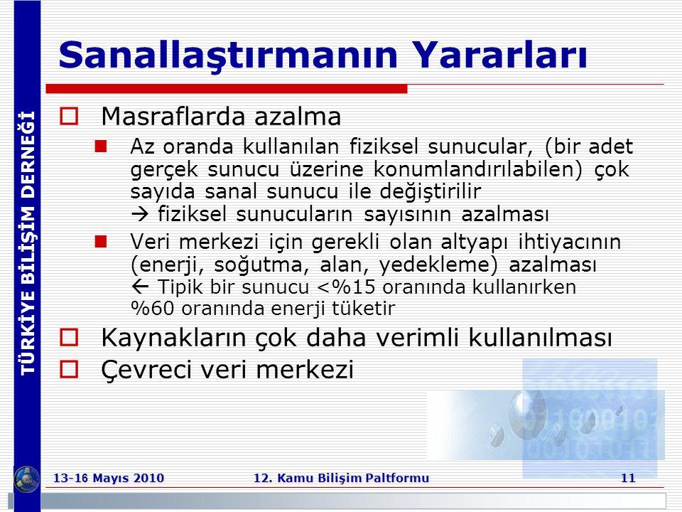 TÜRKİYE BİLİŞİM DERNEĞİ 13-1 6 Mayıs 2010 12. Kamu Bilişim Paltformu 11 Sanallaştırmanın Yararları  Masraflarda azalma  Az oranda kullanılan fizikse