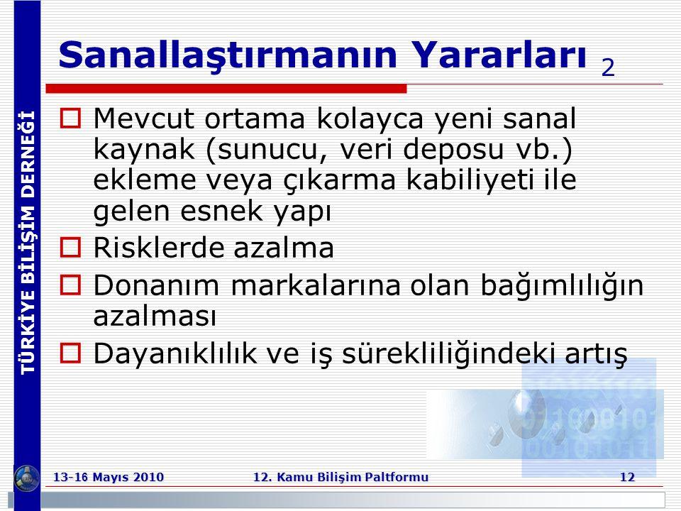 TÜRKİYE BİLİŞİM DERNEĞİ 13-1 6 Mayıs 2010 12. Kamu Bilişim Paltformu 12 Sanallaştırmanın Yararları 2  Mevcut ortama kolayca yeni sanal kaynak (sunucu