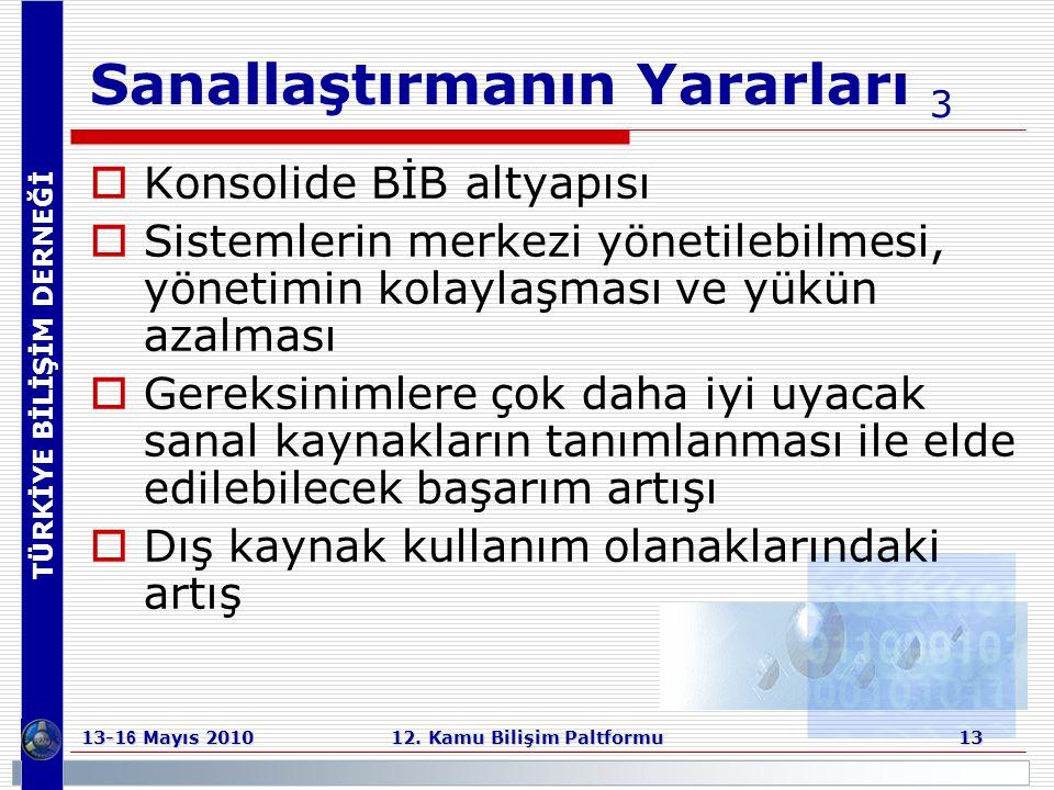 TÜRKİYE BİLİŞİM DERNEĞİ 13-1 6 Mayıs 2010 12. Kamu Bilişim Paltformu 13 Sanallaştırmanın Yararları 3  Konsolide BİB altyapısı  Sistemlerin merkezi y