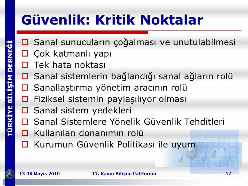 TÜRKİYE BİLİŞİM DERNEĞİ 13-1 6 Mayıs 2010 12. Kamu Bilişim Paltformu 17 Güvenlik: Kritik Noktalar  Sanal sunucuların çoğalması ve unutulabilmesi  Ço