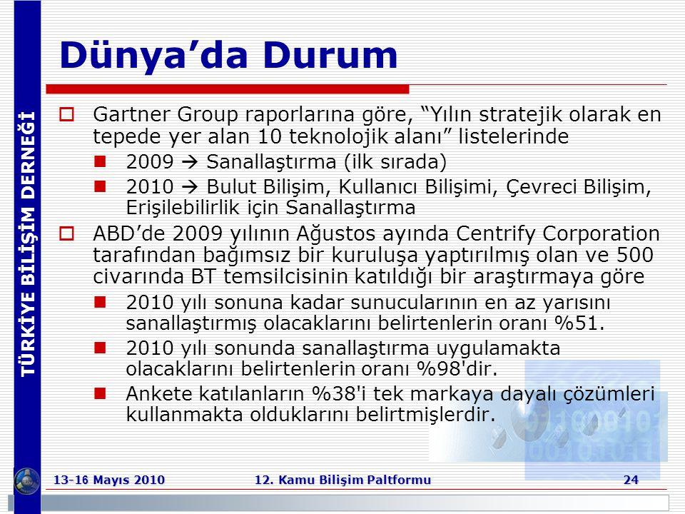 """TÜRKİYE BİLİŞİM DERNEĞİ 13-1 6 Mayıs 2010 12. Kamu Bilişim Paltformu 24 Dünya'da Durum  Gartner Group raporlarına göre, """"Yılın stratejik olarak en te"""