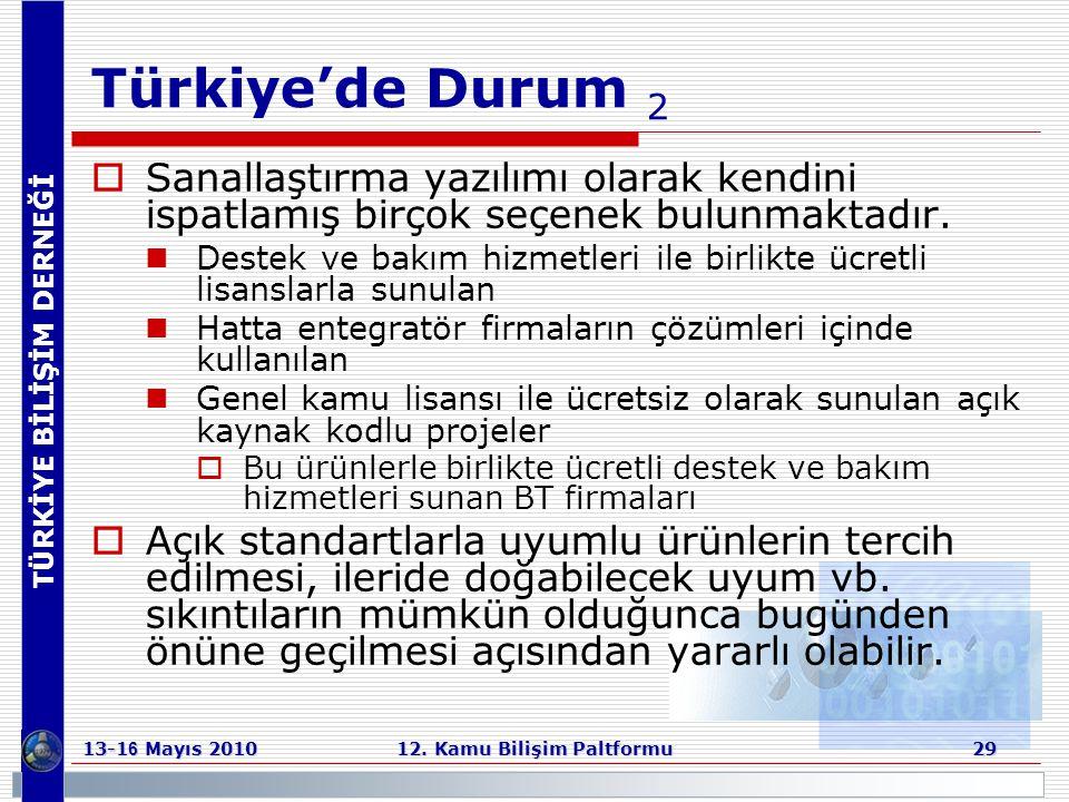 TÜRKİYE BİLİŞİM DERNEĞİ 13-1 6 Mayıs 2010 12. Kamu Bilişim Paltformu 29 Türkiye'de Durum 2  Sanallaştırma yazılımı olarak kendini ispatlamış birçok s
