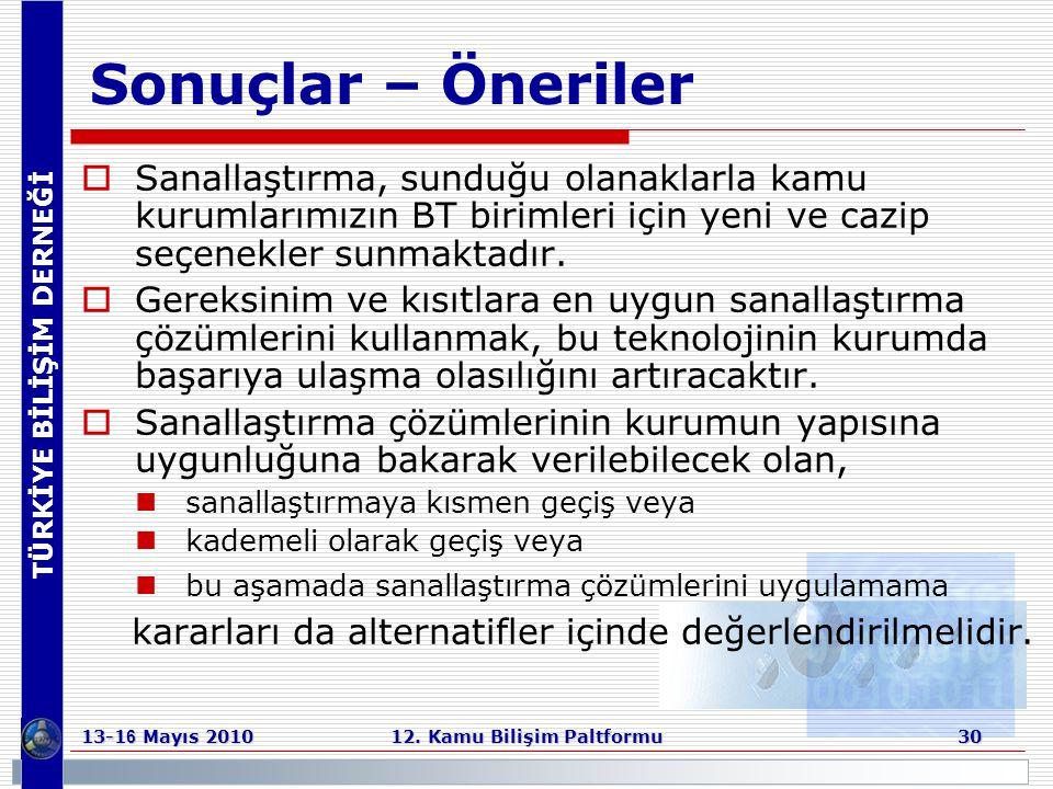 TÜRKİYE BİLİŞİM DERNEĞİ 13-1 6 Mayıs 2010 12. Kamu Bilişim Paltformu 30 Sonuçlar – Öneriler  Sanallaştırma, sunduğu olanaklarla kamu kurumlarımızın B