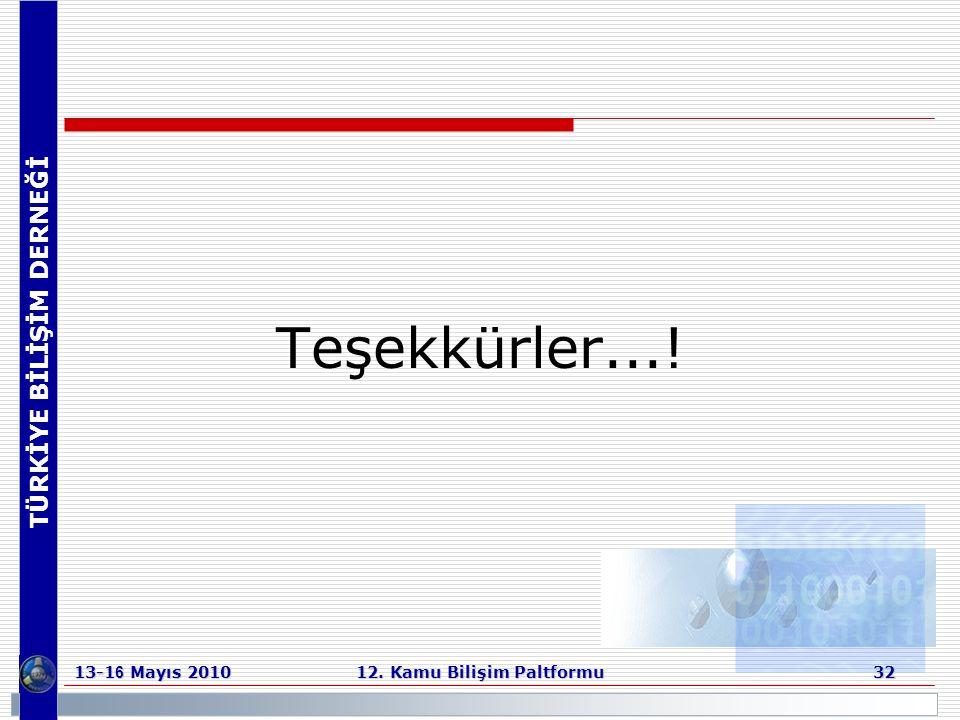TÜRKİYE BİLİŞİM DERNEĞİ 13-1 6 Mayıs 2010 12. Kamu Bilişim Paltformu 32 Teşekkürler...!