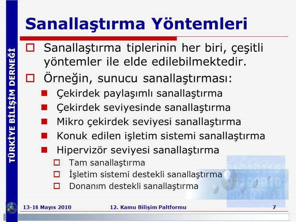 TÜRKİYE BİLİŞİM DERNEĞİ 13-1 6 Mayıs 2010 12. Kamu Bilişim Paltformu 7 Sanallaştırma Yöntemleri  Sanallaştırma tiplerinin her biri, çeşitli yöntemler