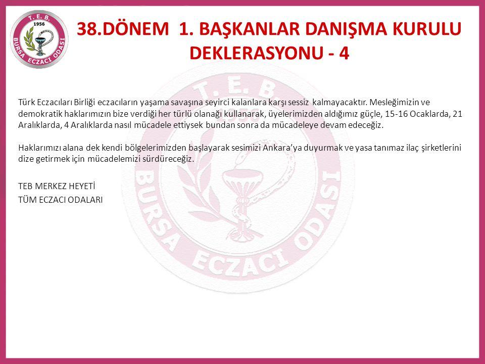 Türk Eczacıları Birliği eczacıların yaşama savaşına seyirci kalanlara karşı sessiz kalmayacaktır. Mesleğimizin ve demokratik haklarımızın bize verdiği