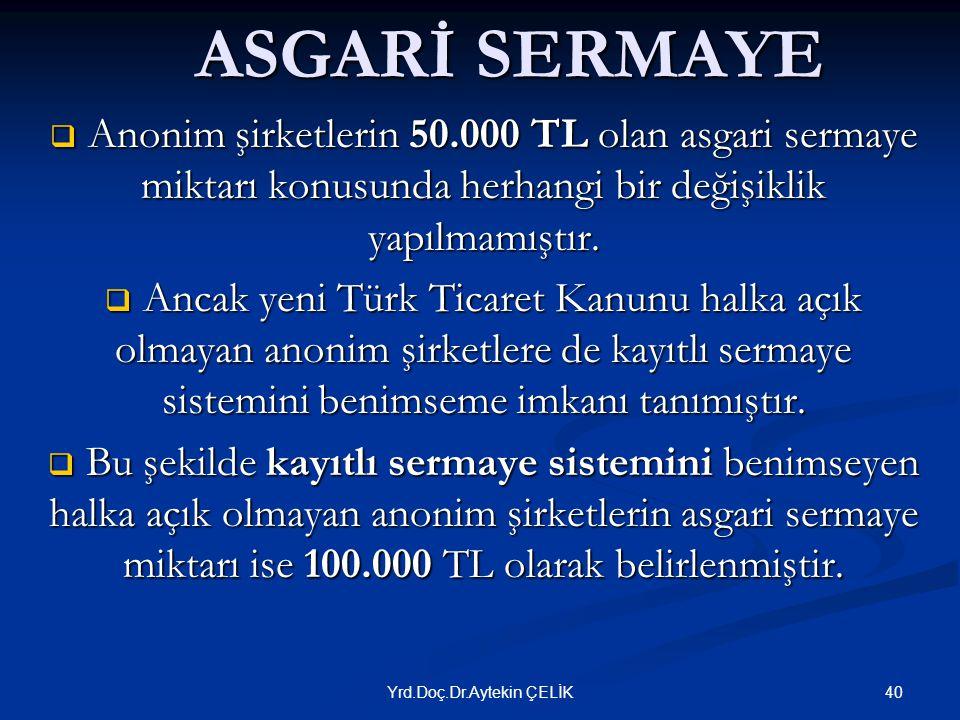 ASGARİ SERMAYE  Anonim şirketlerin 50.000 TL olan asgari sermaye miktarı konusunda herhangi bir değişiklik yapılmamıştır.