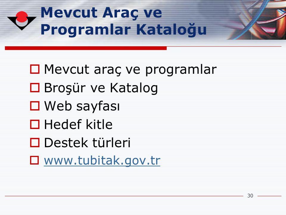 30 Mevcut Araç ve Programlar Kataloğu  Mevcut araç ve programlar  Broşür ve Katalog  Web sayfası  Hedef kitle  Destek türleri  www.tubitak.gov.t