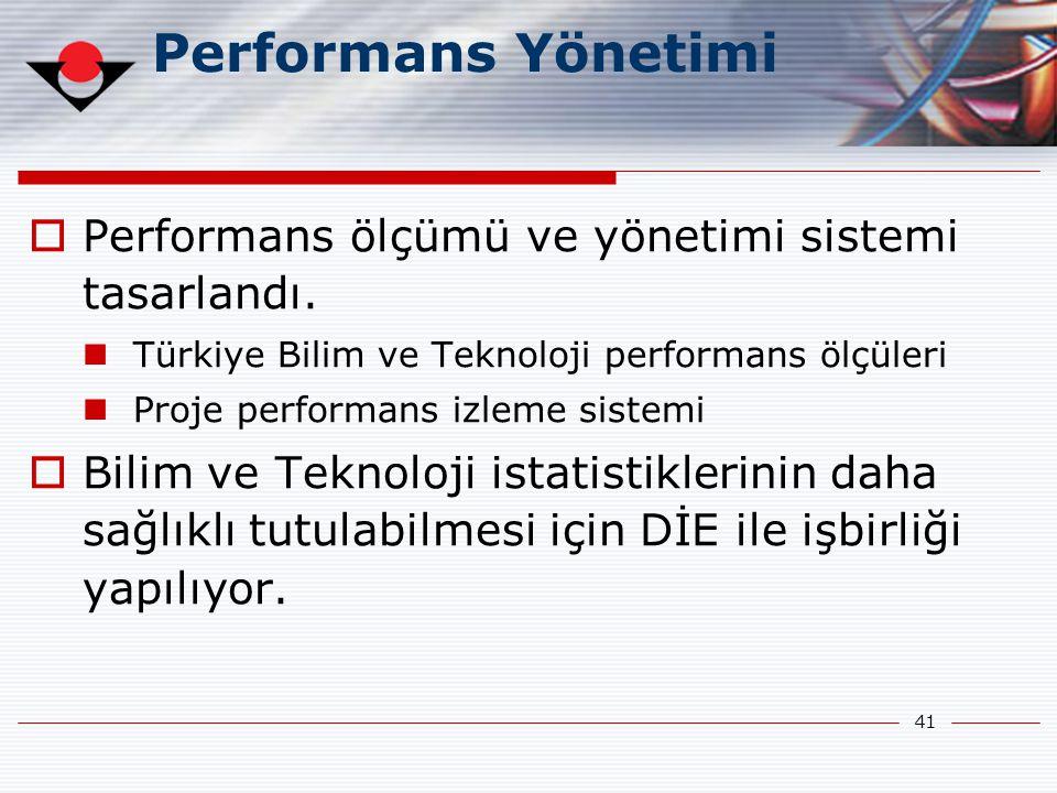 41 Performans Yönetimi  Performans ölçümü ve yönetimi sistemi tasarlandı.  Türkiye Bilim ve Teknoloji performans ölçüleri  Proje performans izleme