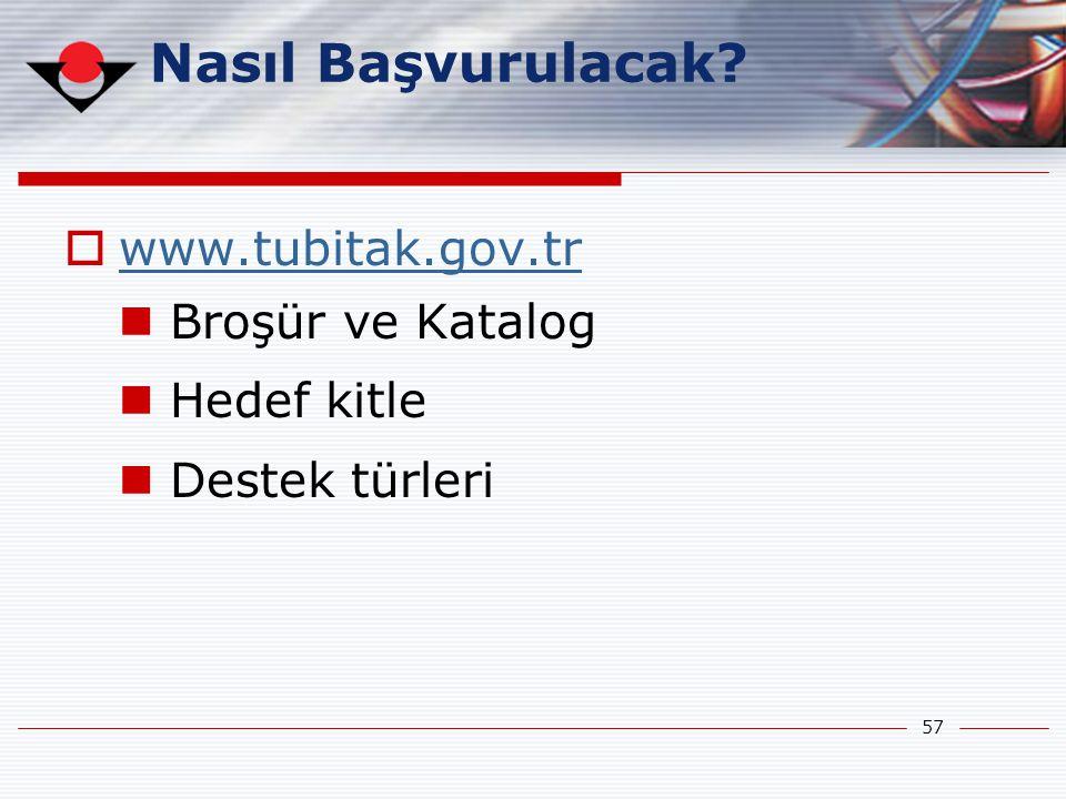 57 Nasıl Başvurulacak?  www.tubitak.gov.tr www.tubitak.gov.tr  Broşür ve Katalog  Hedef kitle  Destek türleri