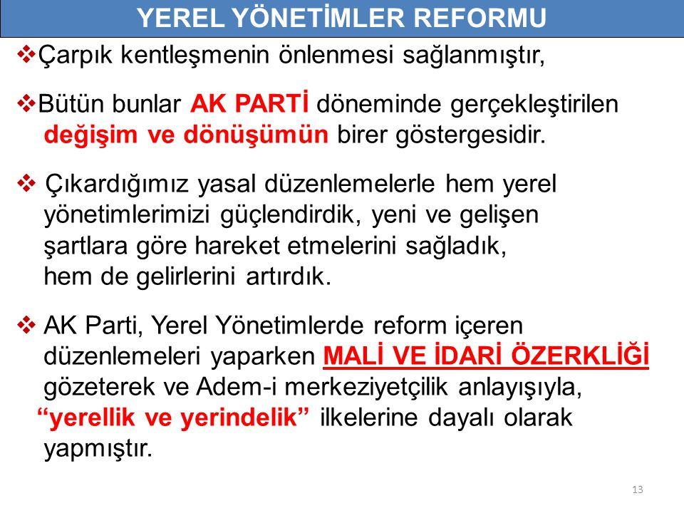 13  Çarpık kentleşmenin önlenmesi sağlanmıştır,  Bütün bunlar AK PARTİ döneminde gerçekleştirilen değişim ve dönüşümün birer göstergesidir.
