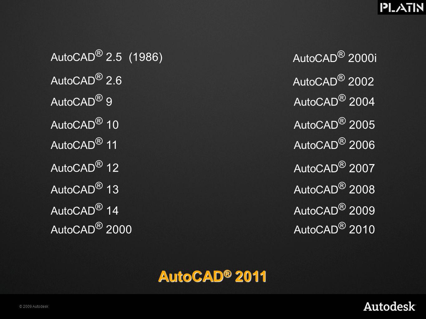 © 2009 Autodesk AutoCAD ® 2.5 (1986) AutoCAD ® 2.6 AutoCAD ® 11 AutoCAD ® 10 AutoCAD ® 9 AutoCAD ® 2000i AutoCAD ® 2000 AutoCAD ® 14 AutoCAD ® 13 Auto