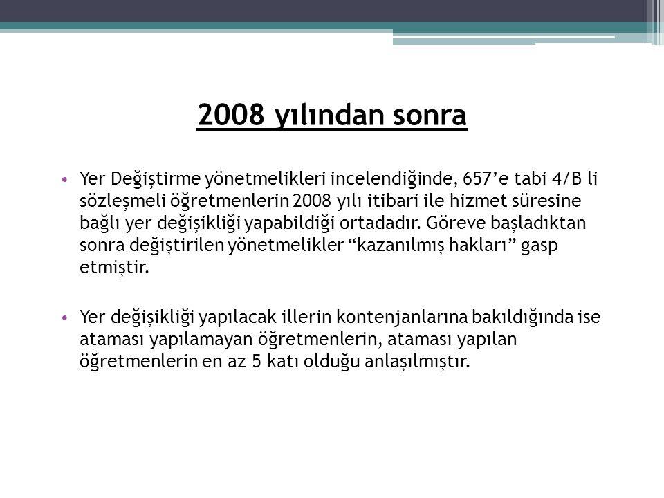2008 yılından sonra • Yer Değiştirme yönetmelikleri incelendiğinde, 657'e tabi 4/B li sözleşmeli öğretmenlerin 2008 yılı itibari ile hizmet süresine b