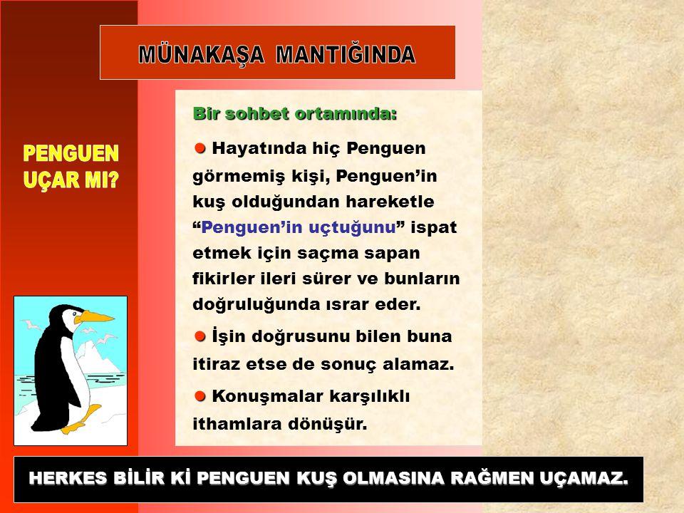 ● ● Hayatında hiç Penguen görmemiş kişi, Penguen'in kuş olduğundan hareketle Penguen'in uçtuğunu ispat etmek için saçma sapan fikirler ileri sürer ve bunların doğruluğunda ısrar eder.